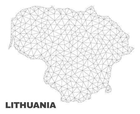 Abstract Lithuania map isolated on a white background. Triangular mesh model in black color of Lithuania map. Polygonal geographic scheme designed for political illustrations. Ilustración de vector