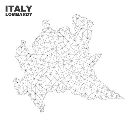 Abstract Lombardy region map isolated on a white background. Triangular mesh model in black color of Lombardy region map. Polygonal geographic scheme designed for political illustrations.