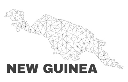 Abstract New Guinea map isolated on a white background. Triangular mesh model in black color of New Guinea map. Polygonal geographic scheme designed for political illustrations.
