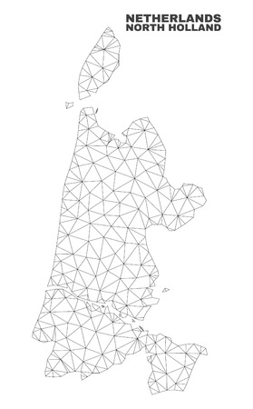 Abstract North Holland map isolated on a white background. Triangular mesh model in black color of North Holland map. Polygonal geographic scheme designed for political illustrations.