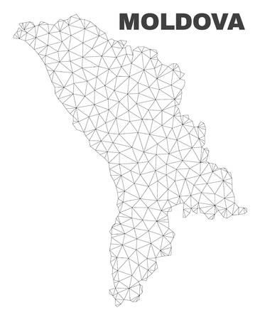 Abstract Moldova map isolated on a white background. Triangular mesh model in black color of Moldova map. Polygonal geographic scheme designed for political illustrations.