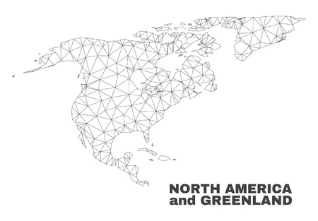Abstract North America and Greenland map isolated on a white background. Triangular mesh model in black color of North America and Greenland map.