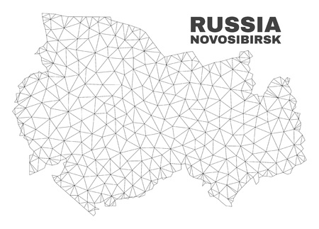 Abstract Novosibirsk Region map isolated on a white background. Triangular mesh model in black color of Novosibirsk Region map. Polygonal geographic scheme designed for political illustrations.