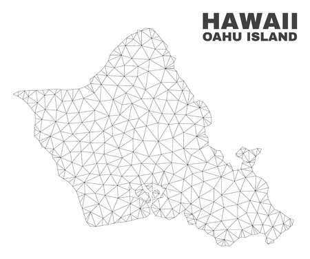 Abstract Oahu Island map isolated on a white background. Triangular mesh model in black color of Oahu Island map. Polygonal geographic scheme designed for political illustrations.