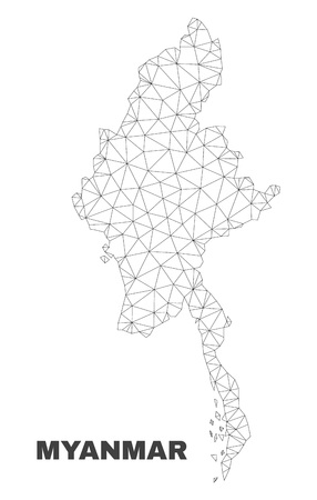 Abstract Myanmar map isolated on a white background. Triangular mesh model in black color of Myanmar map. Polygonal geographic scheme designed for political illustrations.