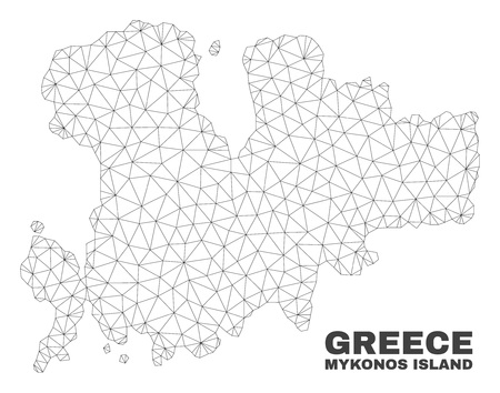 Abstract Mykonos Island map isolated on a white background. Triangular mesh model in black color of Mykonos Island map. Polygonal geographic scheme designed for political illustrations.