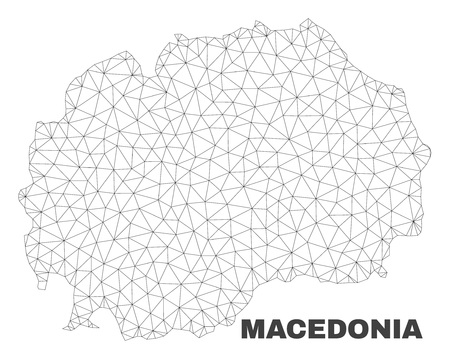Abstract Macedonia map isolated on a white background. Triangular mesh model in black color of Macedonia map. Polygonal geographic scheme designed for political illustrations.