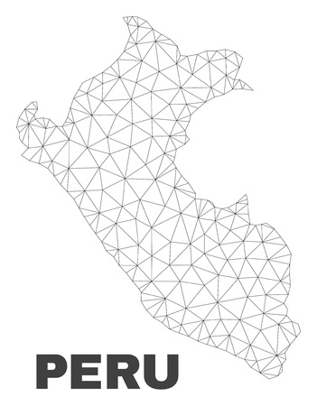 Abstract Peru map isolated on a white background. Triangular mesh model in black color of Peru map. Polygonal geographic scheme designed for political illustrations.