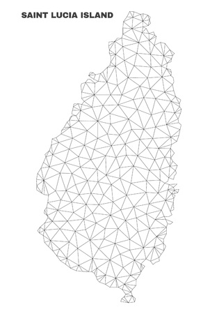 Abstract Saint Lucia Island map isolated on a white background. Triangular mesh model in black color of Saint Lucia Island map. Polygonal geographic scheme designed for political illustrations. Illustration