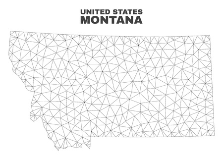 Abstract Montana State map isolated on a white background. Triangular mesh model in black color of Montana State map. Polygonal geographic scheme designed for political illustrations. Ilustração