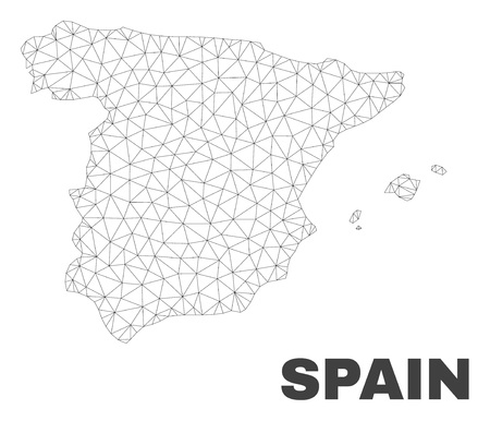 Abstract Spain map isolated on a white background. Triangular mesh model in black color of Spain map. Polygonal geographic scheme designed for political illustrations. Ilustracje wektorowe
