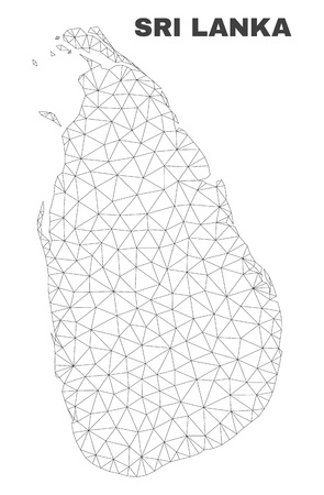 Abstract Sri Lanka map isolated on a white background. Triangular mesh model in black color of Sri Lanka map. Polygonal geographic scheme designed for political illustrations.