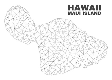 Abstract Maui Island map isolated on a white background. Triangular mesh model in black color of Maui Island map. Polygonal geographic scheme designed for political illustrations.
