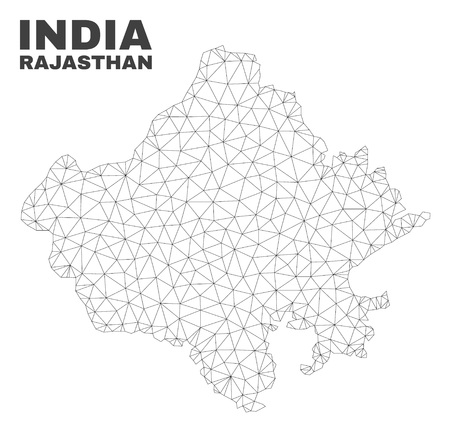 Abstract Rajasthan State map isolated on a white background. Triangular mesh model in black color of Rajasthan State map. Polygonal geographic scheme designed for political illustrations.