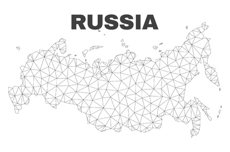 Abstract Russia map isolated on a white background. Triangular mesh model in black color of Russia map. Polygonal geographic scheme designed for political illustrations. Ilustracje wektorowe