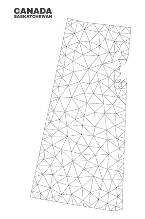 Abstract Saskatchewan Province map isolated on a white background. Triangular mesh model in black color of Saskatchewan Province map. Polygonal geographic scheme designed for political illustrations. Illustration