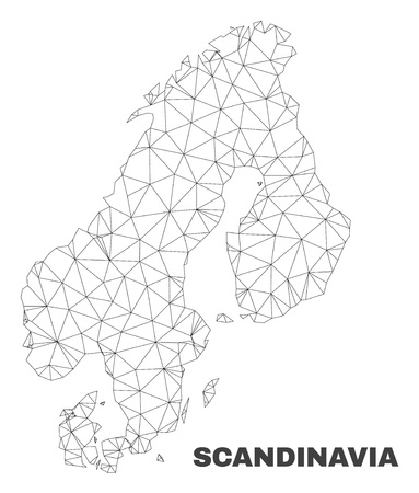Abstract Scandinavia map isolated on a white background. Triangular mesh model in black color of Scandinavia map. Polygonal geographic scheme designed for political illustrations.  イラスト・ベクター素材