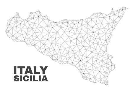 Abstract Sicilia map isolated on a white background. Triangular mesh model in black color of Sicilia map. Polygonal geographic scheme designed for political illustrations.