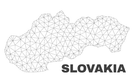 Abstract Slovakia map isolated on a white background. Triangular mesh model in black color of Slovakia map. Polygonal geographic scheme designed for political illustrations.