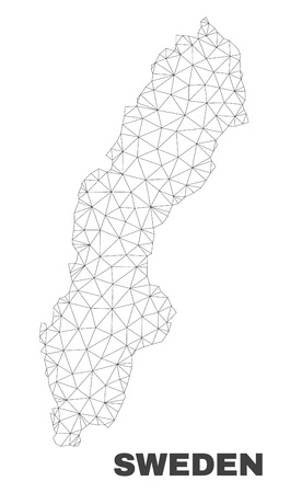Abstract Sweden map isolated on a white background. Triangular mesh model in black color of Sweden map. Polygonal geographic scheme designed for political illustrations.