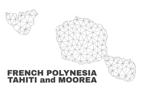 Abstract Tahiti and Moorea islands map isolated on a white background. Triangular mesh model in black color of Tahiti and Moorea islands map.