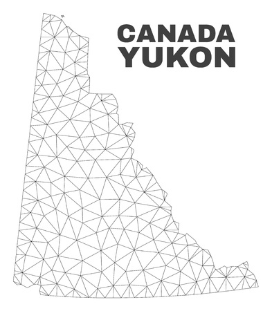 Abstract Yukon Province map isolated on a white background. Triangular mesh model in black color of Yukon Province map. Polygonal geographic scheme designed for political illustrations.