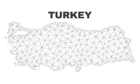 Streszczenie Turcja mapa na białym tle na białym tle. Trójkątny model siatki w czarnym kolorze mapy Turcji. Wielokątny schemat geograficzny przeznaczony do ilustracji politycznych. Ilustracje wektorowe