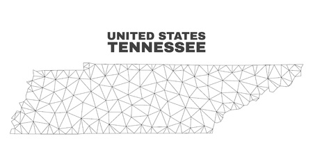 Abstract Tennessee State map isolated on a white background. Triangular mesh model in black color of Tennessee State map. Polygonal geographic scheme designed for political illustrations. Illustration