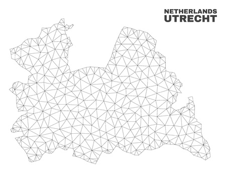 Abstract Utrecht Province map isolated on a white background. Triangular mesh model in black color of Utrecht Province map. Polygonal geographic scheme designed for political illustrations.