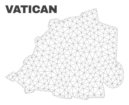 Abstract Vatican map isolated on a white background. Triangular mesh model in black color of Vatican map. Polygonal geographic scheme designed for political illustrations.
