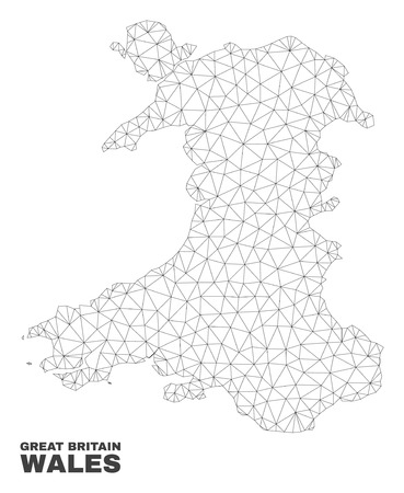 Abstract Wales map isolated on a white background. Triangular mesh model in black color of Wales map. Polygonal geographic scheme designed for political illustrations.
