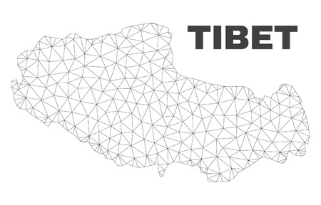 Abstract Tibet map isolated on a white background. Triangular mesh model in black color of Tibet map. Polygonal geographic scheme designed for political illustrations. 写真素材 - 116755552