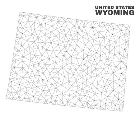 Abstract Wyoming State map isolated on a white background. Triangular mesh model in black color of Wyoming State map. Polygonal geographic scheme designed for political illustrations. 일러스트