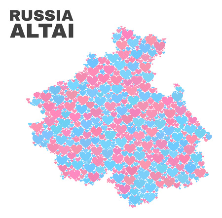 Mosaic Altai Republic map of love hearts in pink and blue colors isolated on a white background. Lovely heart collage in shape of Altai Republic map. Abstract design for Valentine decoration.  イラスト・ベクター素材