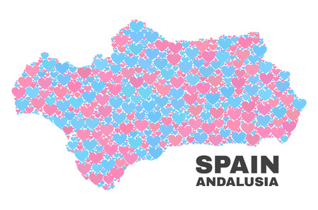 Mosaic Andalusia Province map of valentine hearts in pink and blue colors isolated on a white background. Lovely heart collage in shape of Andalusia Province map.  イラスト・ベクター素材
