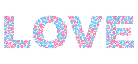LOVE caption constructed with scattered pink and blue lovely hearts. Text caption is isolated on a white background. Vector collage LOVE for Valentine illustrations. Ilustração