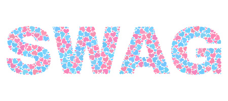SWAG label constructed with scattered pink and blue lovely hearts. Text label is isolated on a white background. Vector collage SWAG for Valentine purposes.