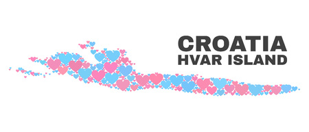 Mosaic Hvar Island map of lovely hearts in pink and blue colors isolated on a white background. Lovely heart collage in shape of Hvar Island map. Abstract design for Valentine illustrations.