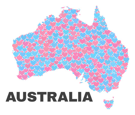 Mosaic Australia map of lovely hearts in pink and blue colors isolated on a white background. Lovely heart collage in shape of Australia map. Abstract design for Valentine illustrations. Illustration