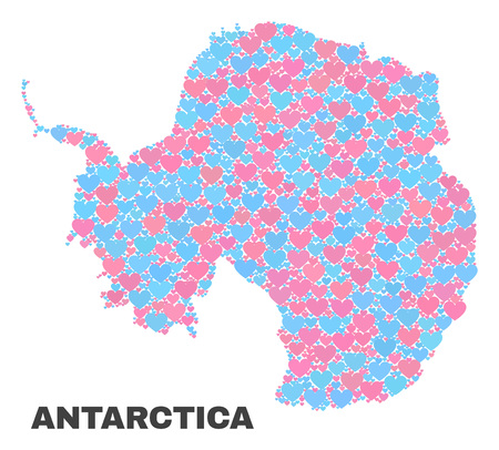 Mosaic Antarctica continent map of lovely hearts in pink and blue colors isolated on a white background. Lovely heart collage in shape of Antarctica continent map. 写真素材 - 125300387