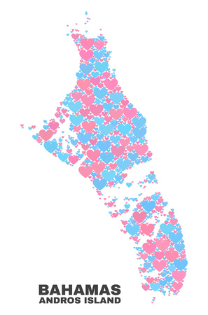 Mosaic Andros Island of Bahamas map of valentine hearts in pink and blue colors isolated on a white background. Lovely heart collage in shape of Andros Island of Bahamas map.