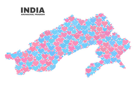 Mosaic Arunachal Pradesh State map of love hearts in pink and blue colors isolated on a white background. Lovely heart collage in shape of Arunachal Pradesh State map. Illustration