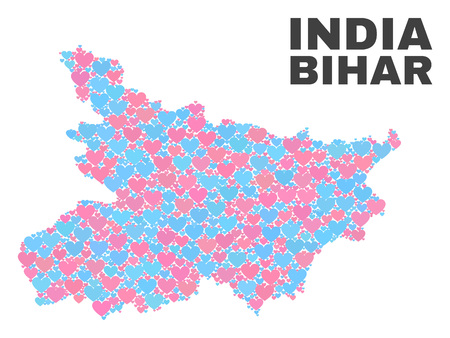 Mosaic Bihar State map of love hearts in pink and blue colors isolated on a white background. Lovely heart collage in shape of Bihar State map. Abstract design for Valentine illustrations. Illustration