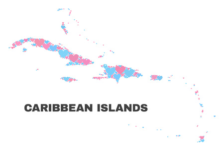 Mosaic Caribbean Islands map of love hearts in pink and blue colors isolated on a white background. Lovely heart collage in shape of Caribbean Islands map. Abstract design for Valentine illustrations. Illustration