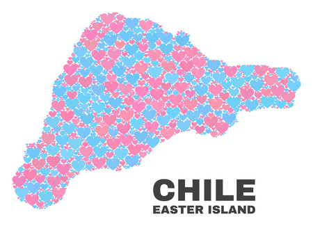 Mosaic Easter Island map of lovely hearts in pink and blue colors isolated on a white background. Lovely heart collage in shape of Easter Island map. Abstract design for Valentine illustrations.