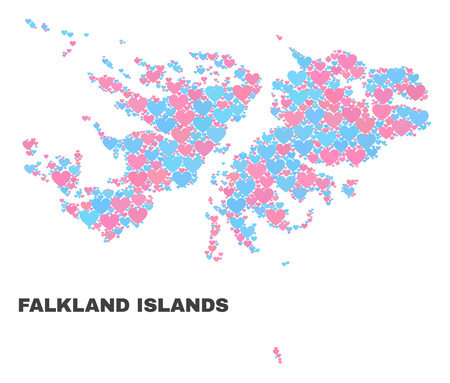 Mosaic Falkland Islands map of valentine hearts in pink and blue colors isolated on a white background. Lovely heart collage in shape of Falkland Islands map.