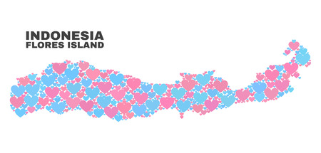 Mosaic Flores Island of Indonesia map of love hearts in pink and blue colors isolated on a white background. Lovely heart collage in shape of Flores Island of Indonesia map. Иллюстрация