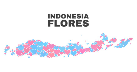Mosaic Flores Islands of Indonesia map of lovely hearts in pink and blue colors isolated on a white background. Lovely heart collage in shape of Flores Islands of Indonesia map.
