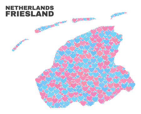 Mosaic Friesland Province map of lovely hearts in pink and blue colors isolated on a white background. Lovely heart collage in shape of Friesland Province map.