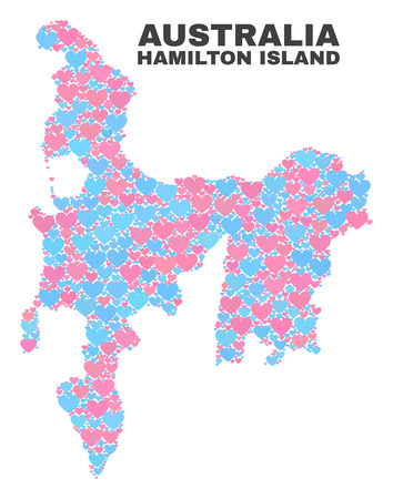 Mosaic Hamilton Island map of love hearts in pink and blue colors isolated on a white background. Lovely heart collage in shape of Hamilton Island map. Abstract design for Valentine illustrations.